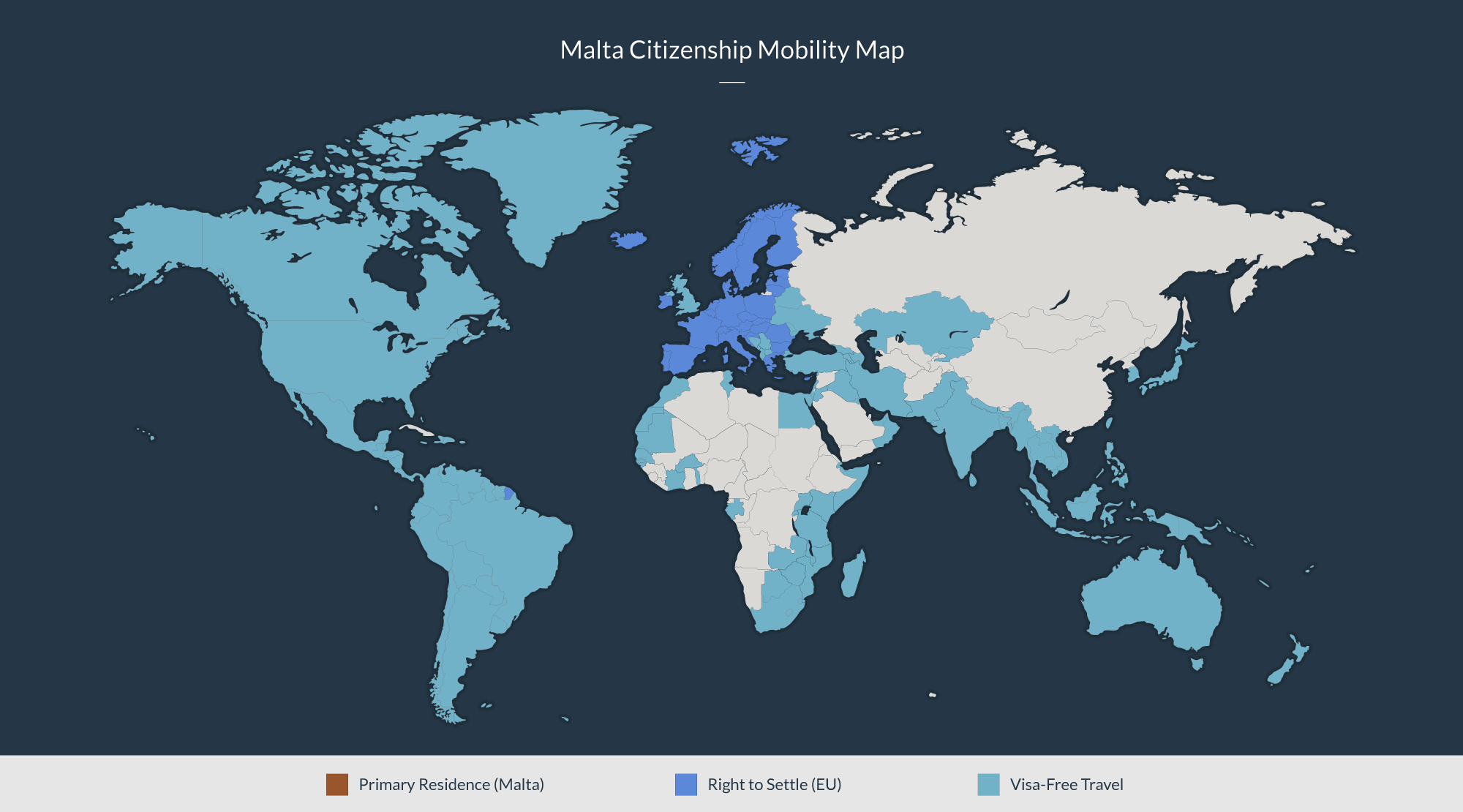 Malta citizenship mobility map: Primary residence in Malta, Right to settle in the European Union, and Visa-free travel to many other countries.
