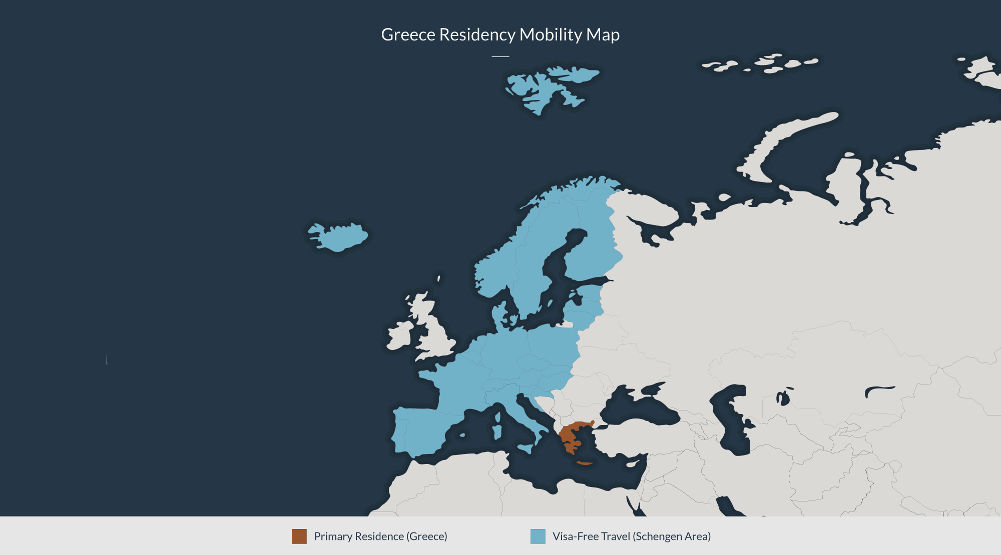 Greece residency mobility map: Primary residence in Greece, Visa-free travel across the Schengen area.
