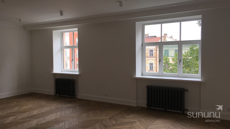 Renovated pre-war apartment with marble and wood finishes
