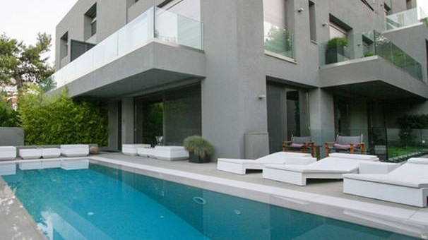 Modern exterior and pool area of upscale maisonette in Athens