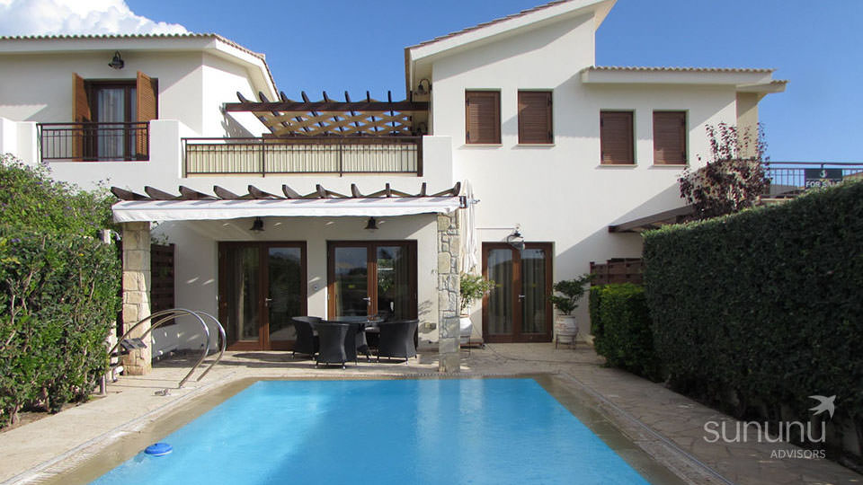 Picturesque setting, swimming pool and patio of villa in Kouklia