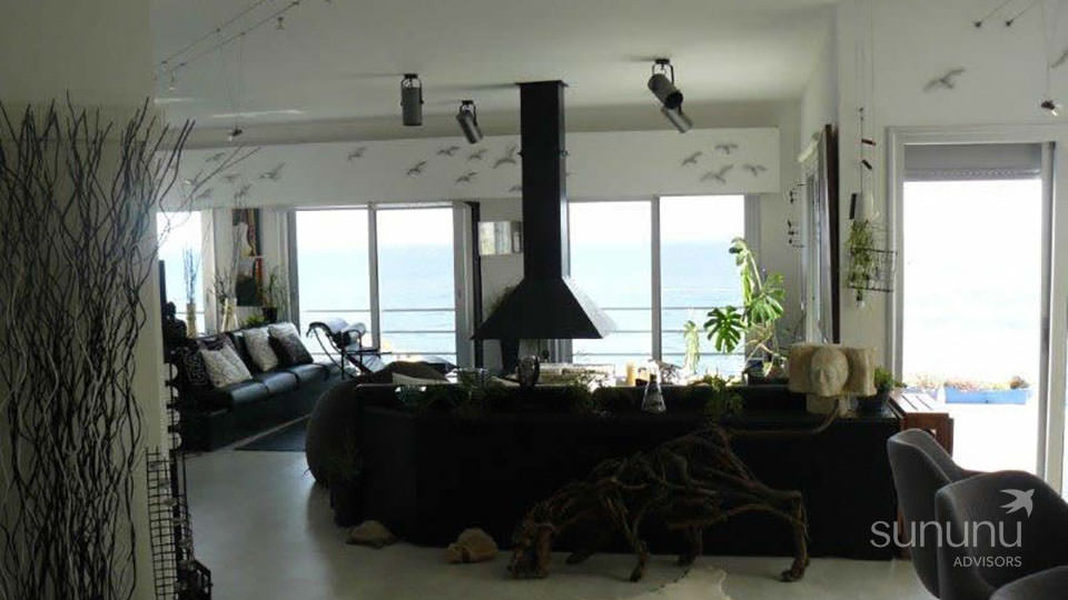 Stylish open kitchen of penthouse in Limassol has fantastic sea views