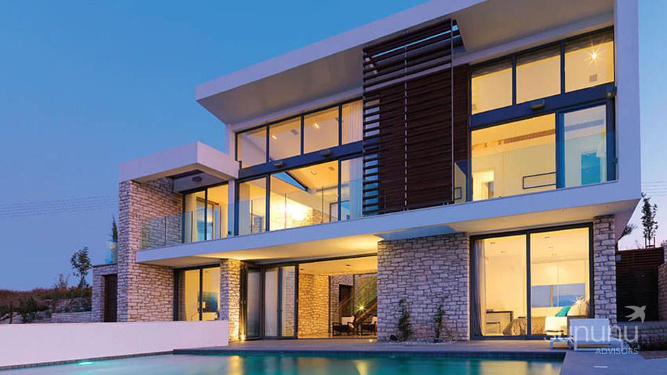 Stylish exterior of luxury golf resort villa in Paphos