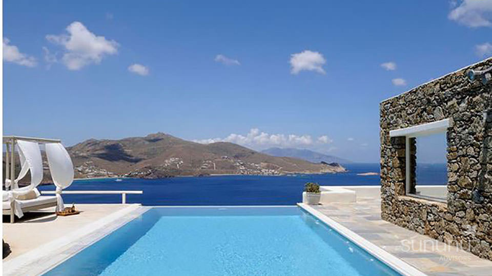 Sea views from infinity pool of exclusive villa in Mykonos