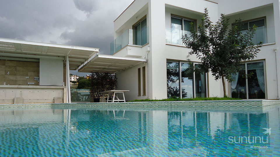Swimming pool and gorgeous contemporary design of villa in Paphos
