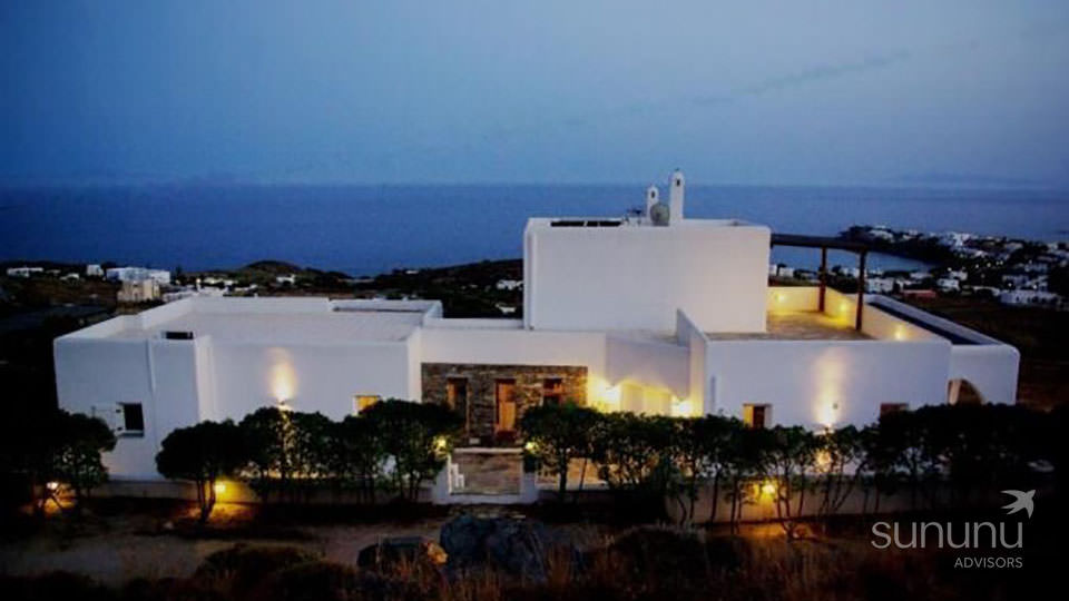 Aerial view of gorgeous sea view villa in Syros