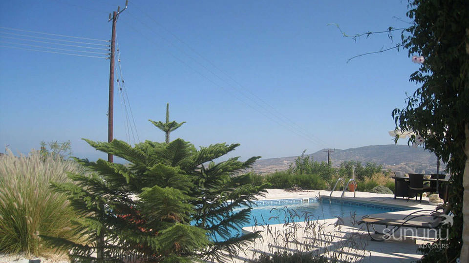Private pool of luxurious villa in Polis, with panoramic views all around
