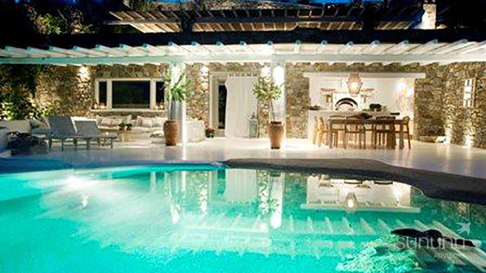 Magical ambience in pool area of villa in Mykonos