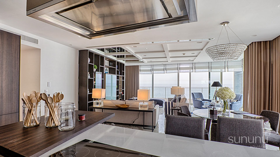 Sophisticated furniture, lighting and ceiling details of designer apartment in Tigne Point