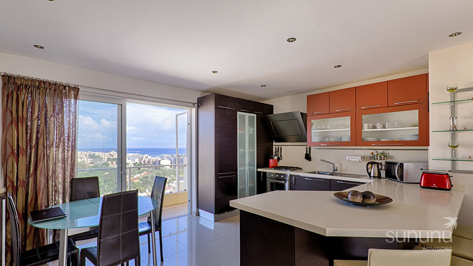 Fantastic view from open kitchen and dining area of penthouse in St. Julian's
