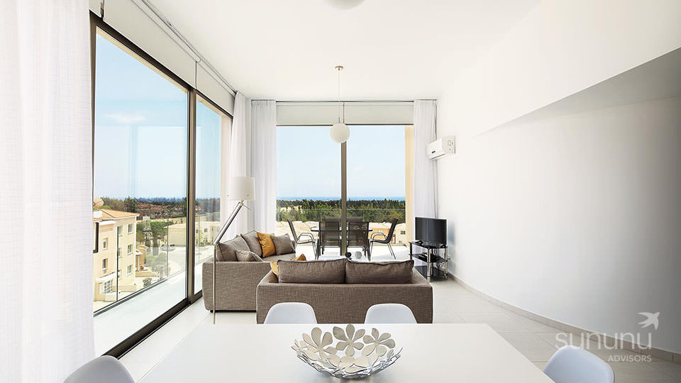Panoramic views from Paphos villa living room