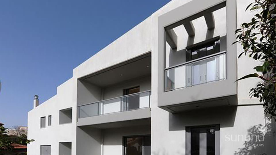 Contemporary exterior of well-appointed maisonette in Athens